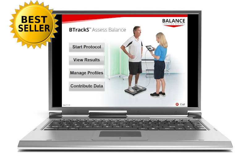 BTrackS Assess Balance on laptop