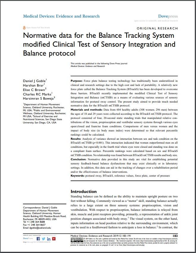 mCTSIB Adult Normative Data